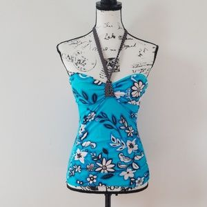 24th & Ocean tankini halter top teal white Floral